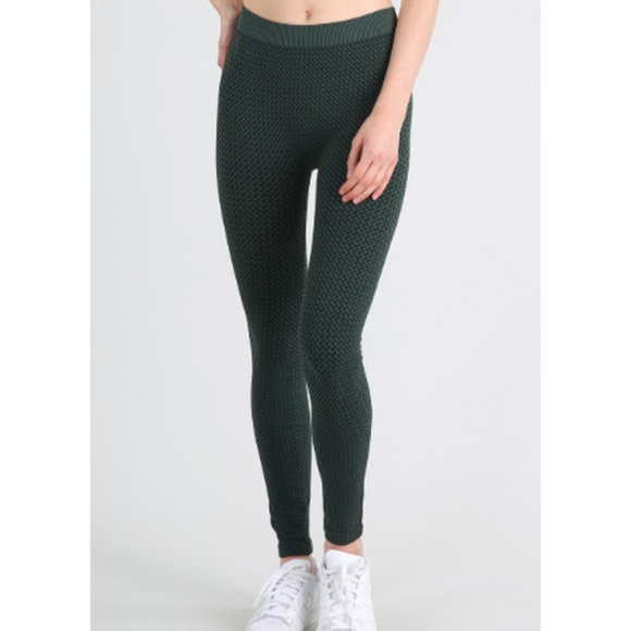 71992cf961b880 Nikibiki Pants | New 3tone Weave Leggings Dark Pine Green | Poshmark